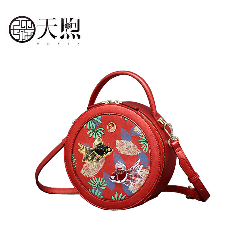 Pmsix 2020 New Women Pu Leather bag quality handbags Fashion embroidery Round bag Luxury tote small women handbags leather bag - 2