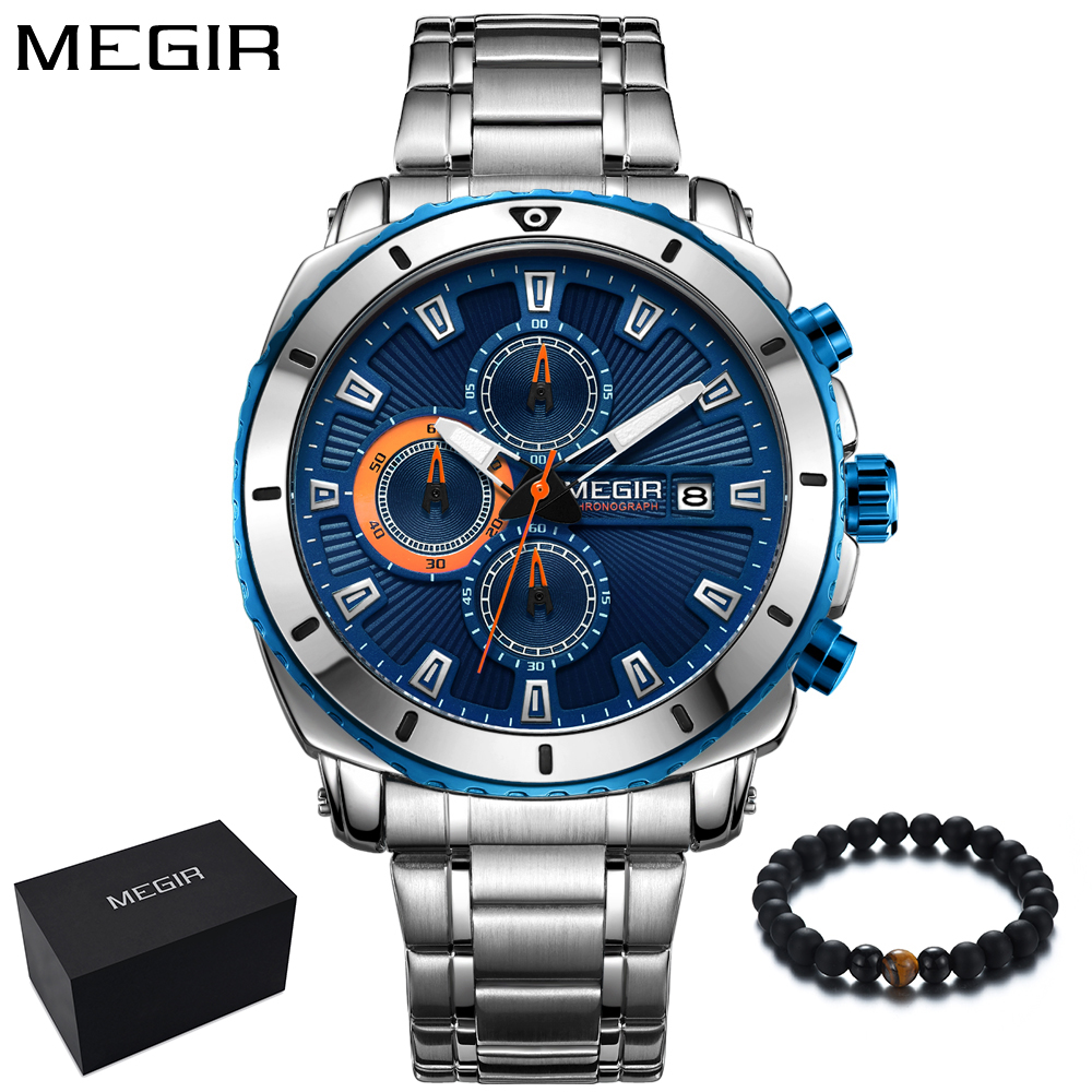 MEGIR Mens Watches Top Brand Luxury Military Sport Watch Men Blue Stainless Steel Big Dial Wrist Watch Hours reloj hombre 2018 цена
