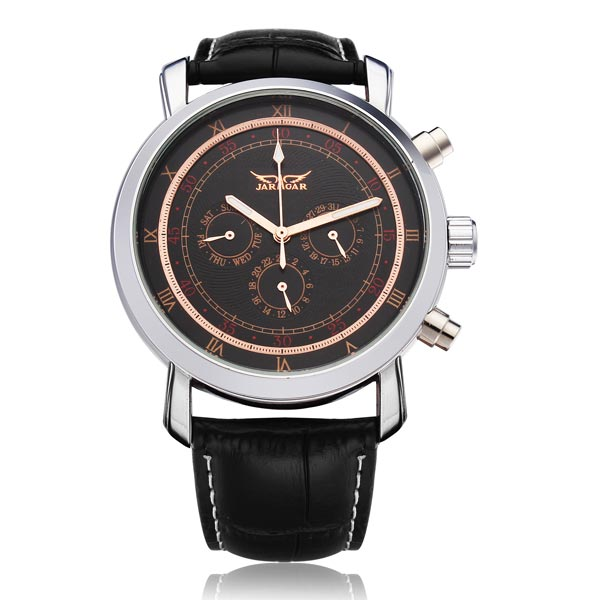 JARAGAR Brand Luxury Automatic Mechanical Fashion Black3 Dial PU Leather Men Wrist Watch Men s Watches
