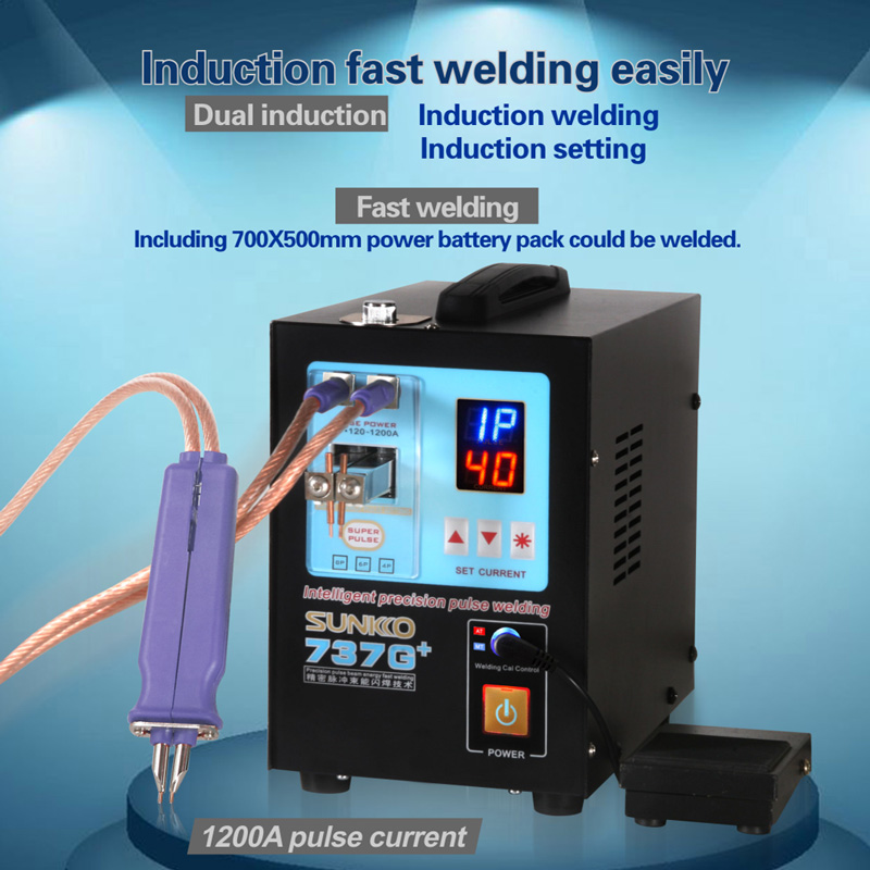 SUNKKO 4.3kw(Instantaneous) LED Pulse Battery Spot Welder ,737G+, Spot Welding Machine For 18650 Battery Pack, Spot Welding