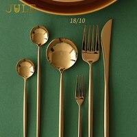 24-pieces 좋은 거울 칼 18/8 스테인레스 스틸 블랙 식당 있입니다 포크 식탁 세트 황금 레스토랑 식기 세트