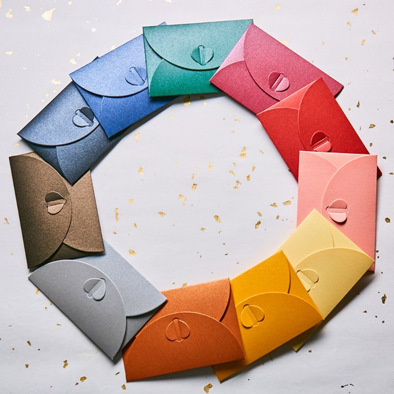 10pcs Blank Mini Heart Buckle Retro Paper Envelopes Wedding Party Invitation Envelope For Letter Greeting Cards