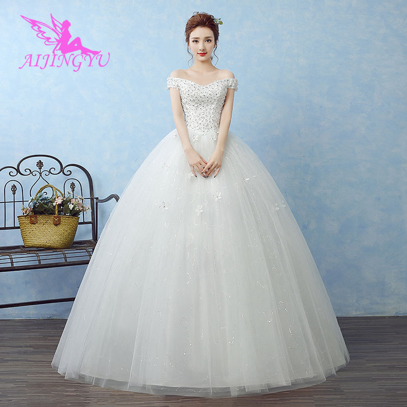 AIJINGYU 2018 Sweet Free Shipping New Hot Selling Cheap Ball Gown Lace Up Back Formal Bride Dresses Wedding Dress WK658