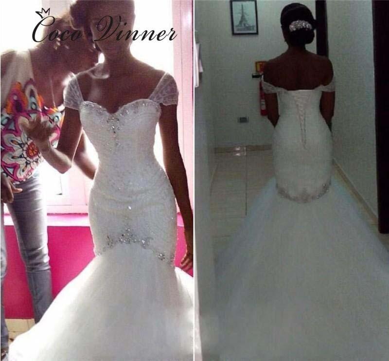 Crystal Beaded African Mermaid Wedding Dresses 2019 Short Cap Sleeve Lace Up Wedding Gown White Plus