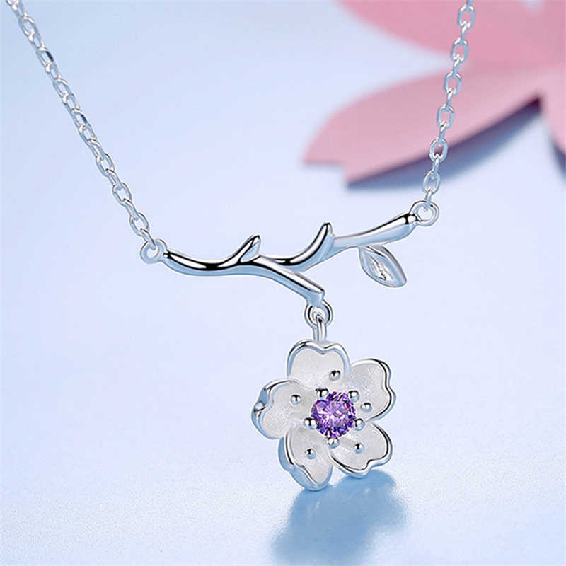 Collar de plata de la flor de cerezo joyería de moda Sakura flores collares colgantes para mujeres regalo de la muchacha