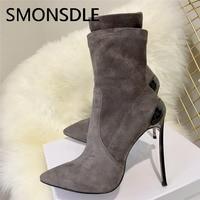 SMONSDLE/Новинка, женские замшевые ботильоны черного и серого цвета, женские осенне зимние ботинки на тонком высоком каблуке с острым носком бе