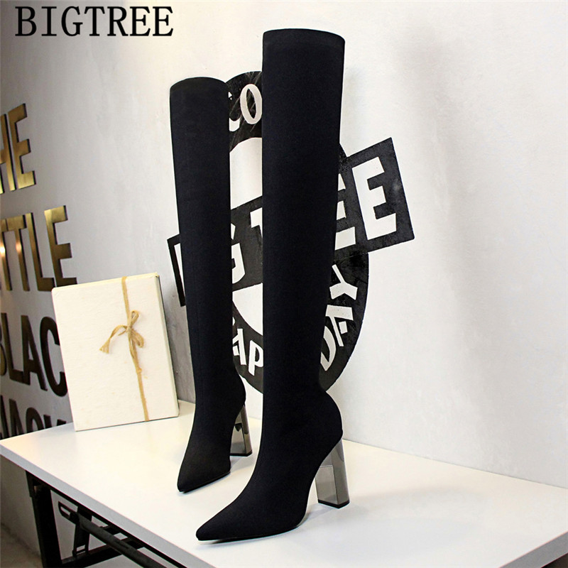 knitting thigh high boots pointed toe high heels glitter boots cuissardes <font><b>sexy</b></font> <font><b>talons</b></font> <font><b>hauts</b></font> high heel boots <font><b>chaussures</b></font> femme image