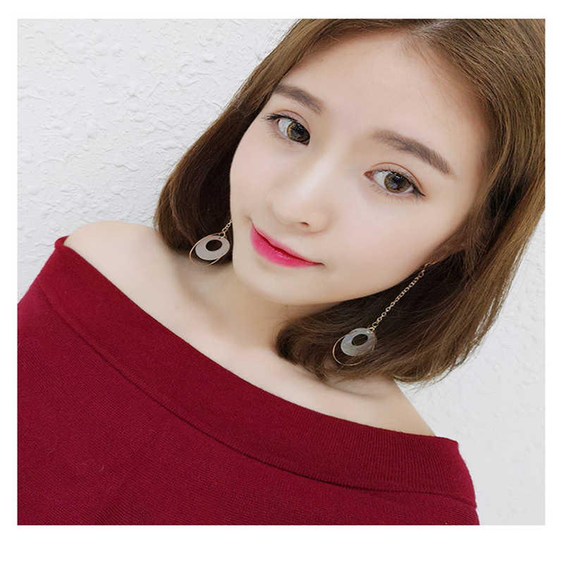 2018 Korean Simple Girl Geometry Vintage Frosty Style Tassel Earrings Drop Earrings for Women Fashion Accessories#