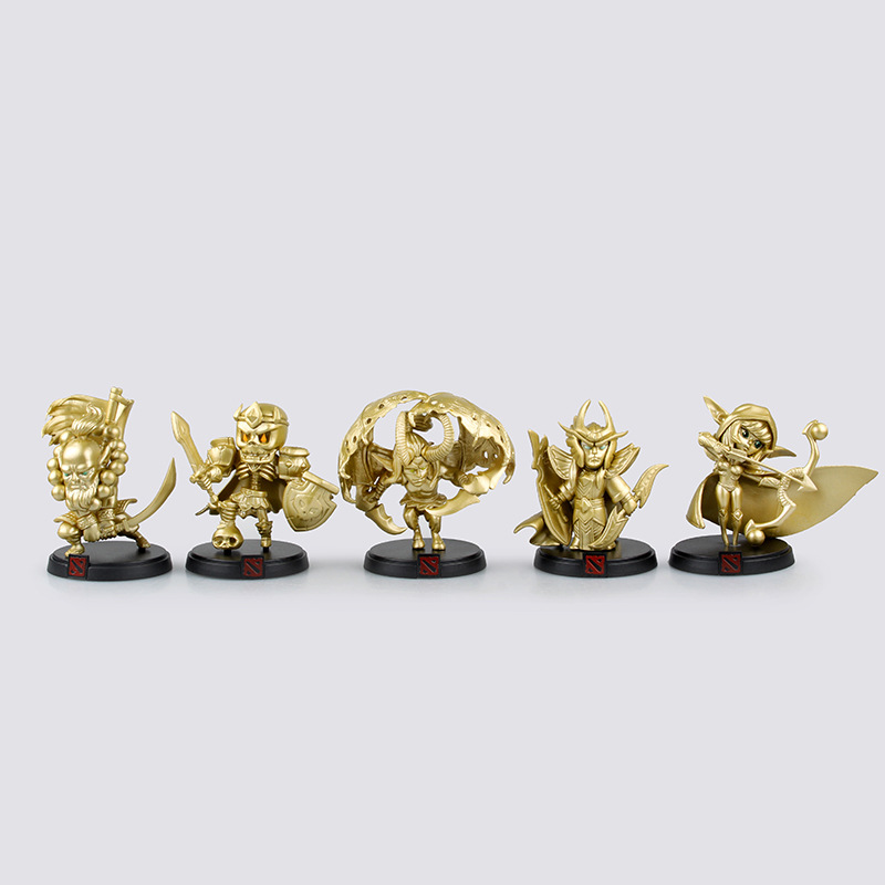 ФОТО New Arrivals 5pcs/lot Dota Game Action Figure Toys PVC Action Figures Special Collection Golden dota 2 Models Table Decoration
