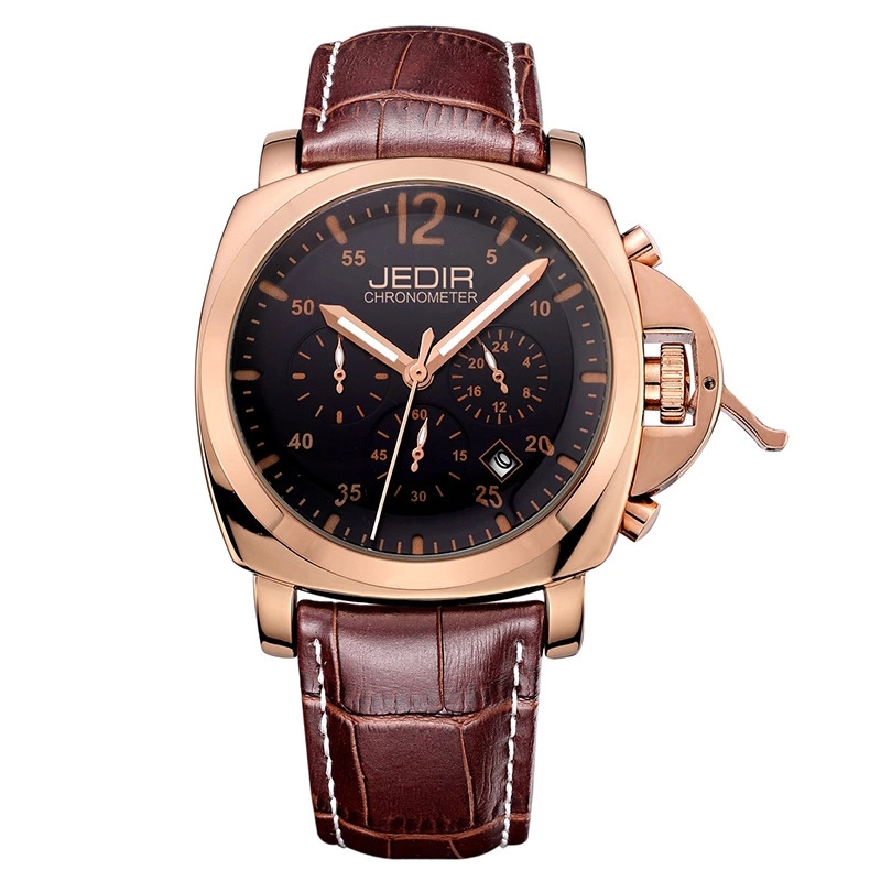 Luxury Brand JEDIR Male Watches Chronograph Leather and Stainless Steel Quartz Watch Men Business Clock Waterproof Wristwatch jedir 3010 male quartz watch