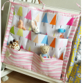 Hotselling Baby Cot Bed Hanging Storage Bag 100%Cotton Kids Crib Organizer Size 60*50cm Toy Diaper Pocket for Crib Bedding Sets