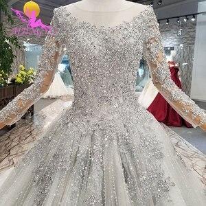 Image 4 - AIJINGYU 반짝 이는 가운 럭셔리 레이스 가운 여왕 로맨틱 신부 멕시코 2021 2020 볼 드레스 간단한 웨딩 드레스