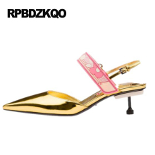 Pointed Toe Classic Slingback Kitten Heel Gold Patent Leather Sandals