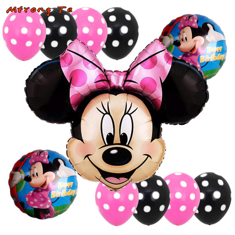 11pcs/lot mickey minnie mouse foil air balloons 12inch Polka dot latex balloons for baby shower birthday party Wedding decora