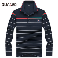 QUANBO New Arrival Men's Long Sleeve Polo Shirt High Quality 100% Cotton Business Polo 3D Embroidery Striped Casual Brand Polos