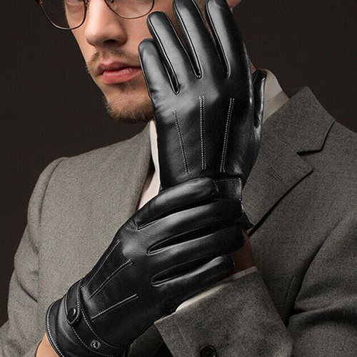 Warm and Comfortable Men Touch Screen Gloves made of Faux Leather with Conductive Fiber Suitable for Bike Riding and Cycling 5