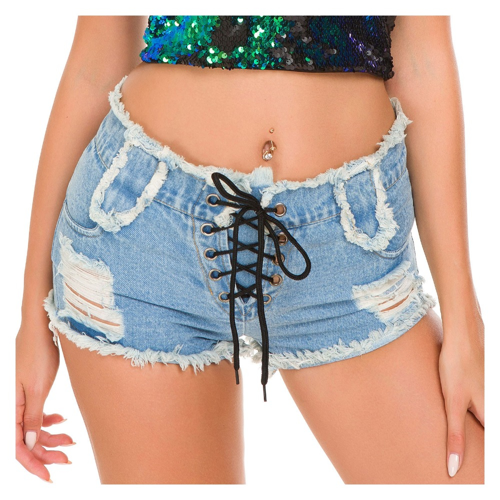 Women Shorts Jeans Sexy High Waist Cotton Bandage Denim Short Shorts Super Mini Hole Hollow Out Summer Bodycon Club Shorts mujer Шорты