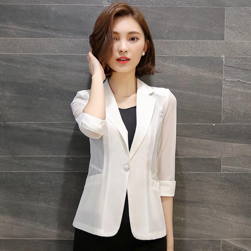Blazer Modestil Plus Größe 4xl Neue Sommer Dünne Blazer Feminino Weiß Schwarz Kleine Anzug Jacke Frauen Basic Mäntel Chaqueta Mujer Blazer Frauen C4272