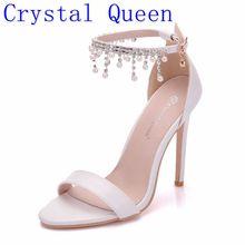 קריסטל מלכת נשים אלגנטי עקבים חתונת נעלי נשים עקב גבוהה סנדלי פניני שרשרת ציצית פלטפורמת לבן מפלגה נעליים