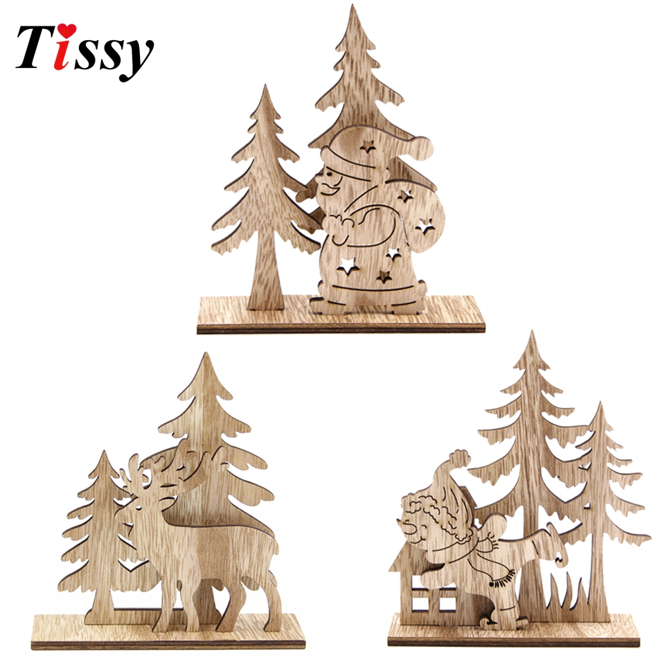 Us 2 1 27 Off Creative Christmas Ornaments Diy Wood Crafts Santa Claus Snowman Wooden Ornaments Home Christmas Party Supplies Table Decoration In