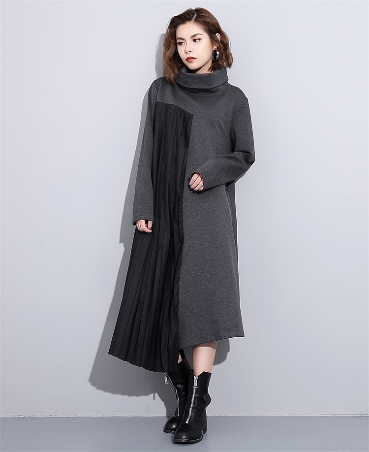 2017 new autumn solid color high neck long sleeve pleated split joint loose big size dress women fasihon tide stylish jewel neck long sleeve fringed loose fitting sweatshirt for women