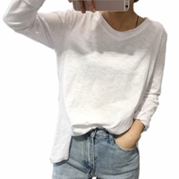 Basic Solid Tshirt Women Must Have V Neck Fringe Women T Shirt Long Sleeve Loose Casual