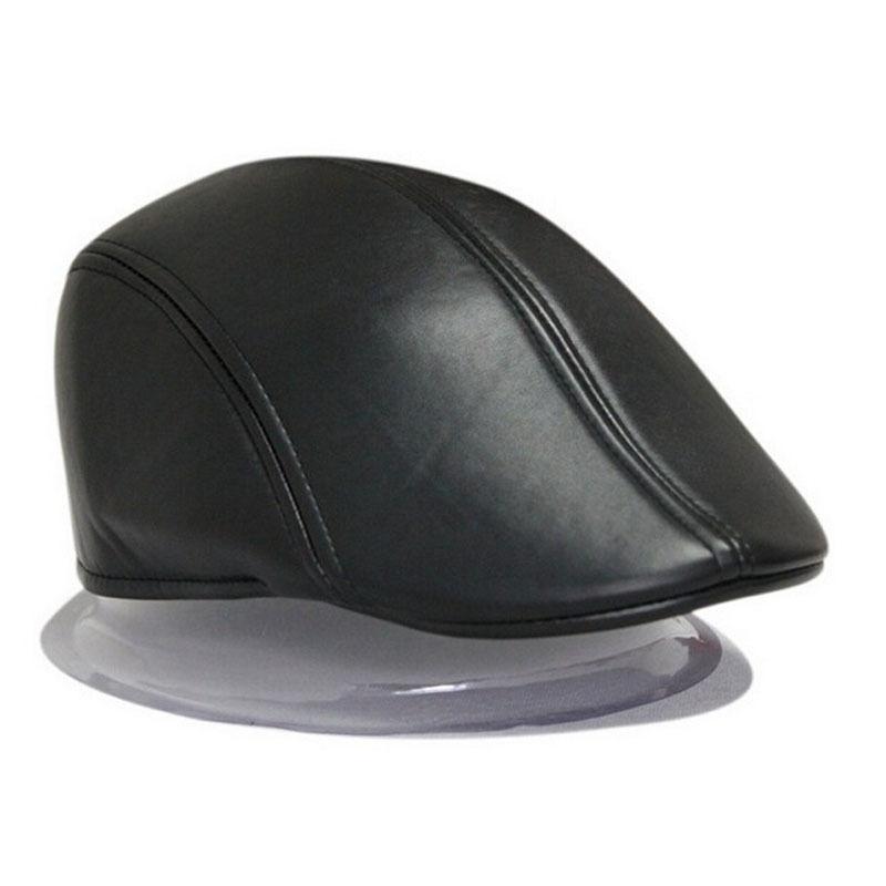 2017 Fashion Women Men Beret Hat PU Leather Men Newsboy Cabbie Baker Ivy  Cap Black Brown 2 colors 35c99cd9645