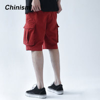 CHINISM 2018 Summer Side Letter Printed Jogger Shorts Mens Loose Street Style Casual Knee Length Male