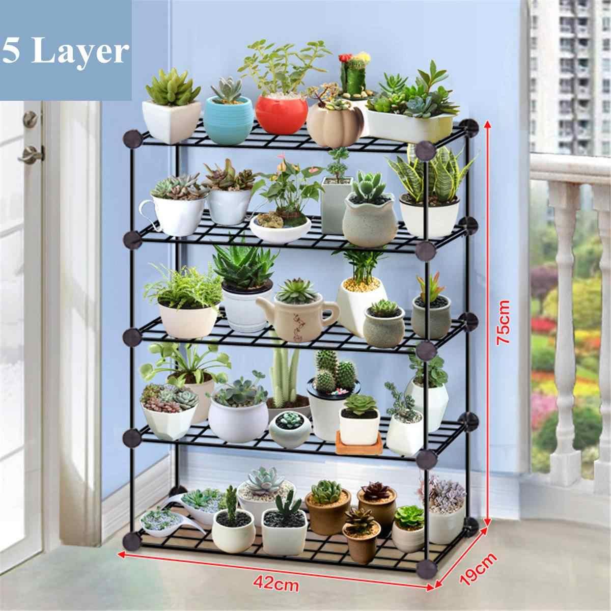Casa de ferro forjado multi-camada planta estande suculenta prateleira rack varanda simples interior barra de café jardim vaso de flores prateleira
