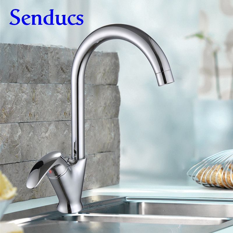 Free shipping Newly Sycee kitchen sink faucet from senducs solid brass kitchen faucet with polished chrome