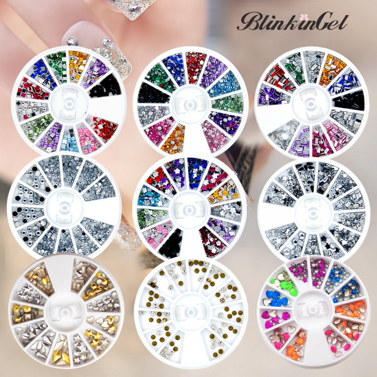 ▻BlinkinGel 12 Color Wheel Mix Strass Nail Art Decorations Metal ...