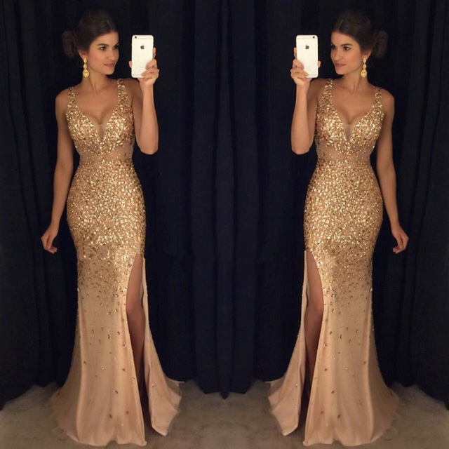 Gold Beaded Crystal Mermaid   Prom     Dresses   2019 vestido de fiesta Sexy Side Split Formal Evening Gowns Special Occasion   Dress