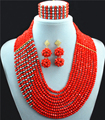 Perlas de La Joyería Nupcial Conjuntos de Cristal Rojo de La Boda africana de Nigeria Cuentas de Collar de La Joyería de Traje Africana Set Envío Shipping10001-3