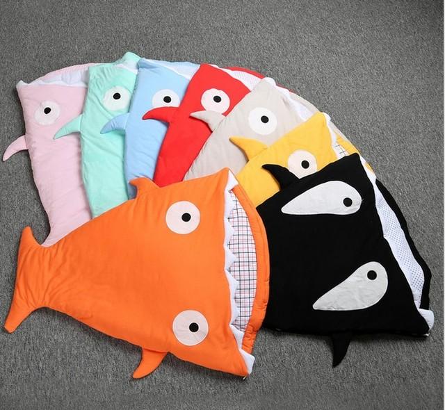 Desconto! novo Estilo de Algodão recém-nascidos tubarão cama carrinho de saco de dormir para o inverno swaddle envoltório cobertor bonito