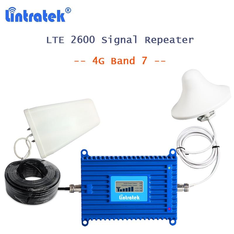 Lintratek 4g booster lte 2600 bande 7 amplificateur de signal de téléphone portable répéteur 4g AGC 15 m câble répéteur de signal de téléphone 2600 mhz kit S37