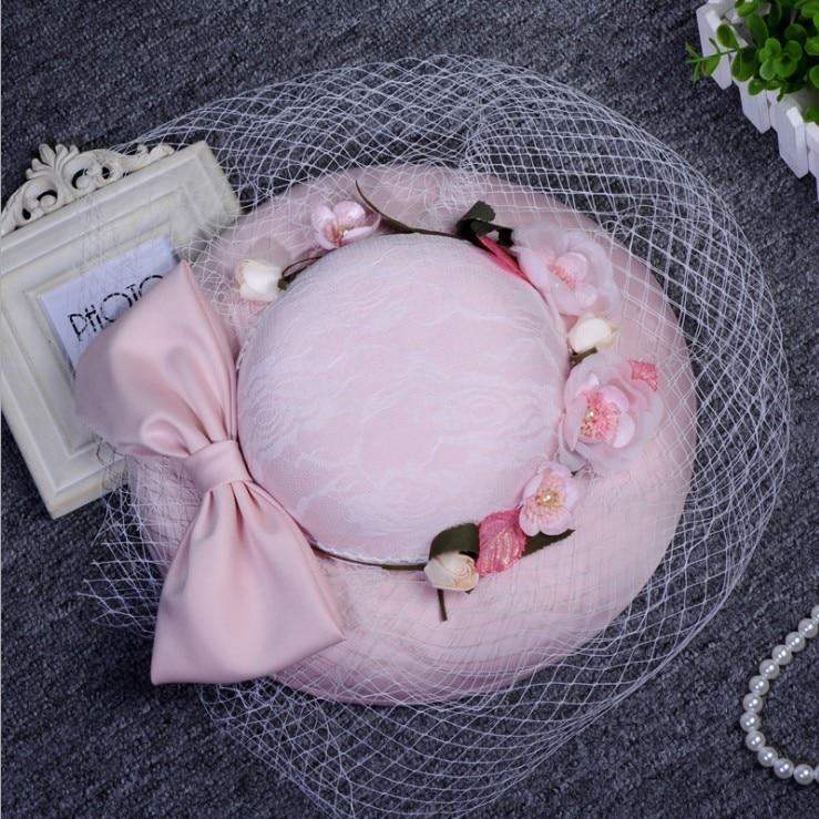 New Arrival Fresh Sweet Bowknot Flowers Grenadine Bridal Hat/Wedding Photo Props 1055