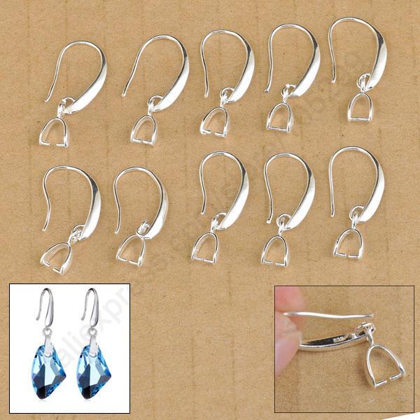 20PC Jewelry Making 925 Sterling Silver Hook Earring Pinch Bail Earring Ear Wire