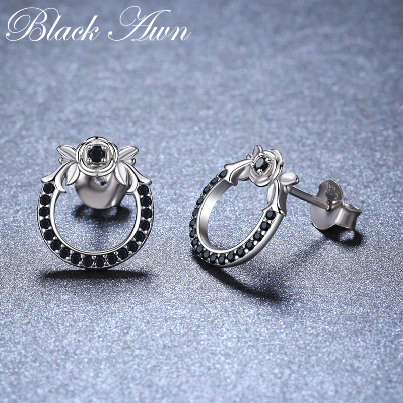 Black Awn New 925 Sterling Silver Natural Black Spinel Round Butterfly Wedding Stud Earrings For Women Fine Jewelry Bijoux II110
