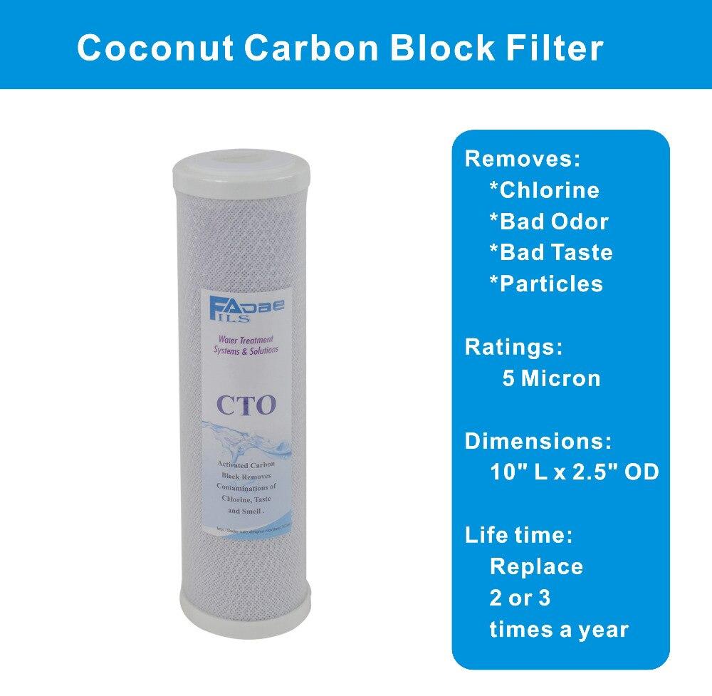 Lot de 5 microns chaîne bloc de carbone • • activé filtre • remplacement d/'osmose inverse •