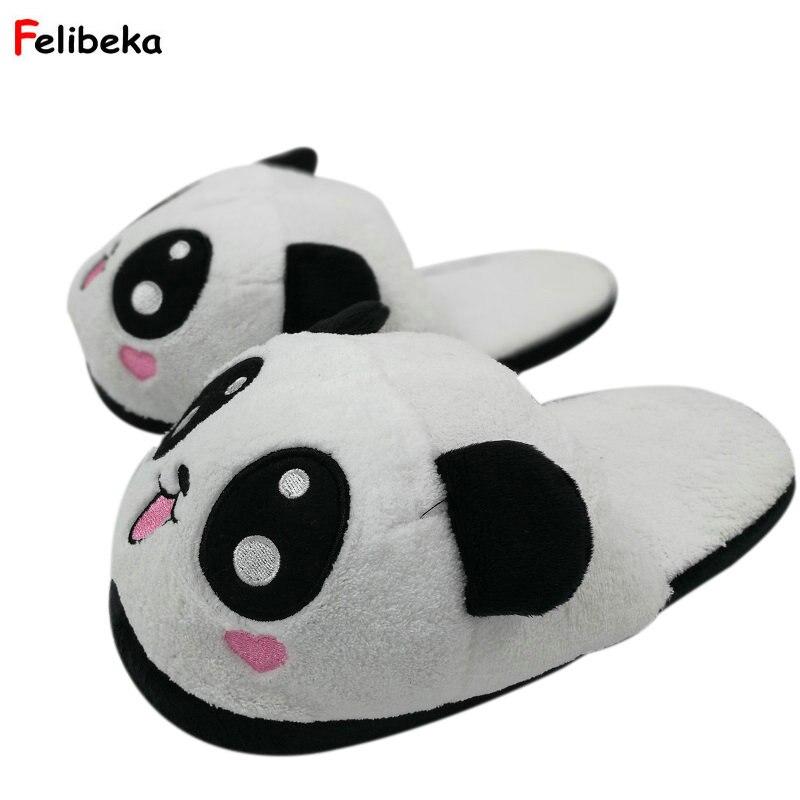 cedb3c7c63a5 One Size 10 styles Indoor Panda Slippers Flat Furry Home Cartoon Women  Plush Slippers unisex Couple