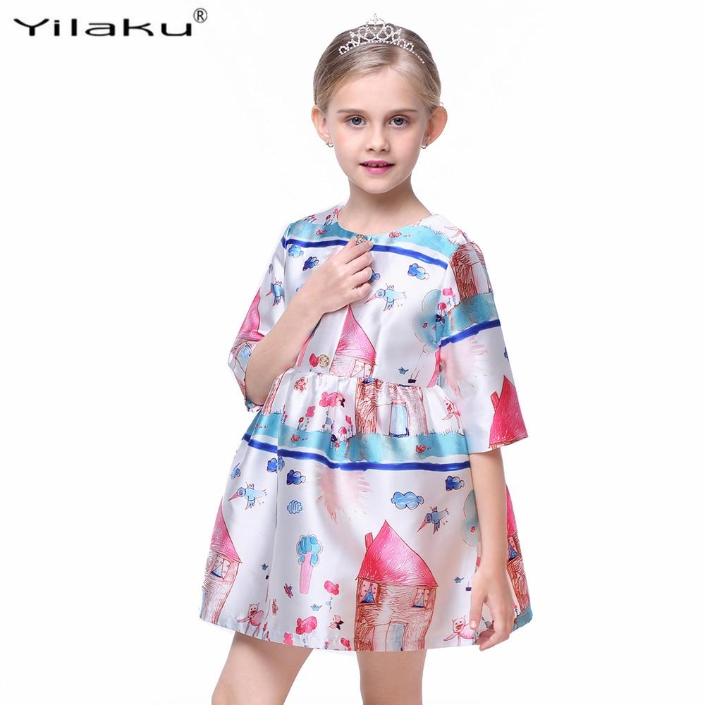 Princess Girls Dress Pół Rękaw Fashion Girl Character Painting - Ubrania dziecięce - Zdjęcie 5