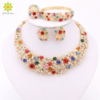 Nigerian Wedding African Beads Jewelry Set Crystal 18K Gold Plated Jewelry Set Wedding Accessories Party