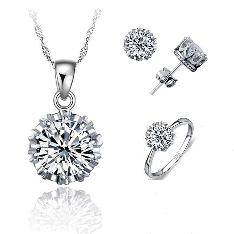 Pure 925 Sterling Silver Cubic Zirconia Round Pendant Necklace Stud Earrings Rings Bague Women Bridal Wedding Jewelry Sets