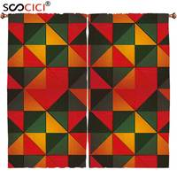 Window Curtains Treatments 2 Panels Geometric Grunge Style Mosaic Pattern With Triangles And Squares Stylized Graphic