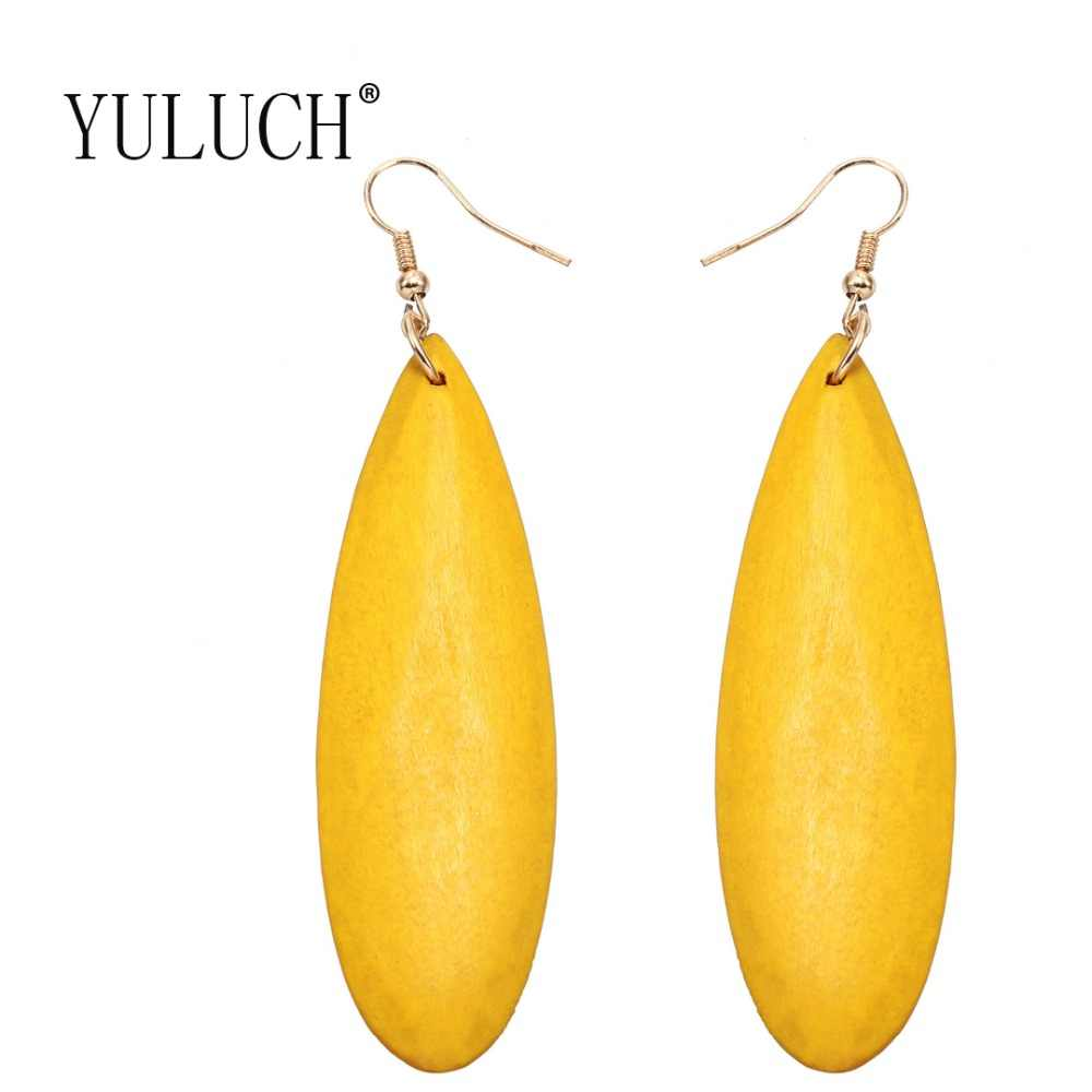 YULUCH Simple wood pendant earrings for girls four colors popular casual accessories for women