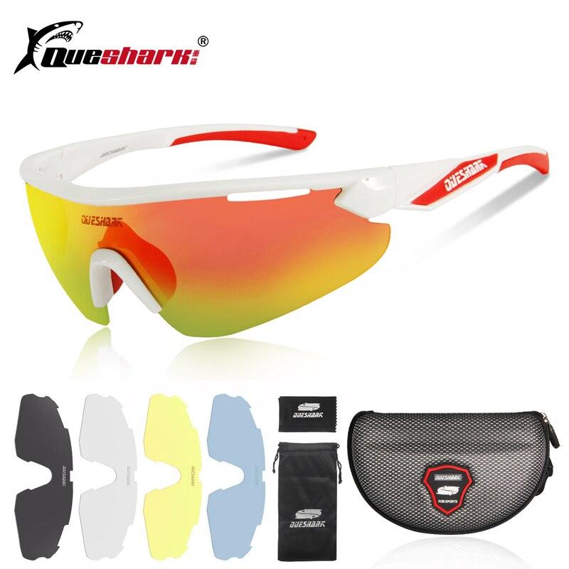 b49a83f73d QUESHARK 4 lente UV400 gafas de ciclismo bicicleta de montaña de deporte  gafas de sol polarizadas gafas de ciclismo de noche en la lente