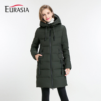 EURASIA 2017 Women S Mid Long Winter Jacket Stand Collar Hooded Design Warm Practical Parka Y1700010