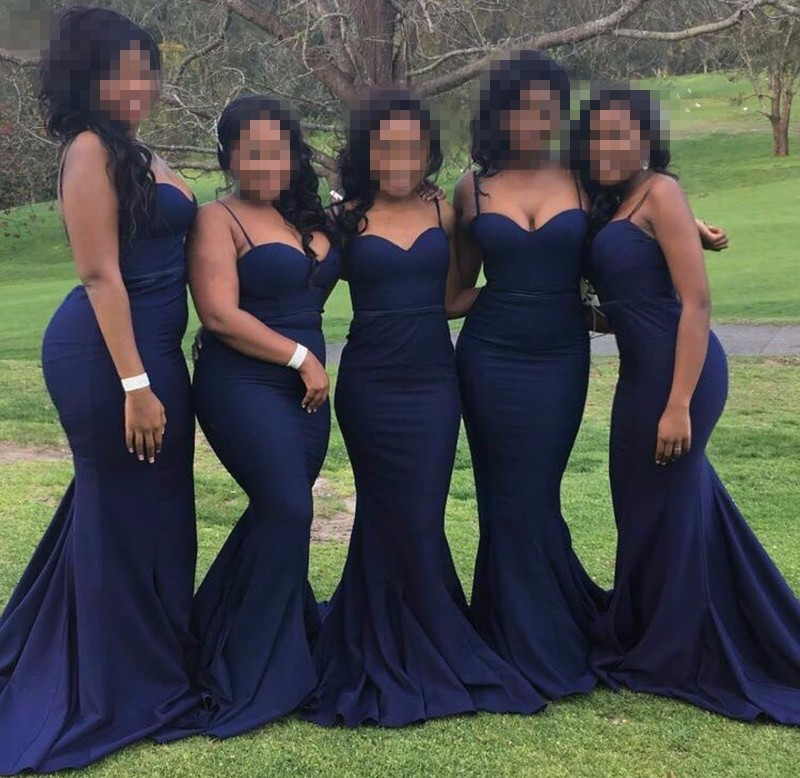 african   bridesmaids     dresses   Navy Blue Satin Spaghetti Straps Mermaid Floor Length cheap plus size party brides maid   dresses