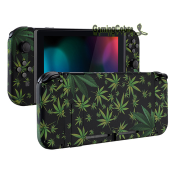 Green Weeds Soft Touch Grip Console Back Plate, Controller Housing Shell with Full Set Buttons for Nintendo Switch