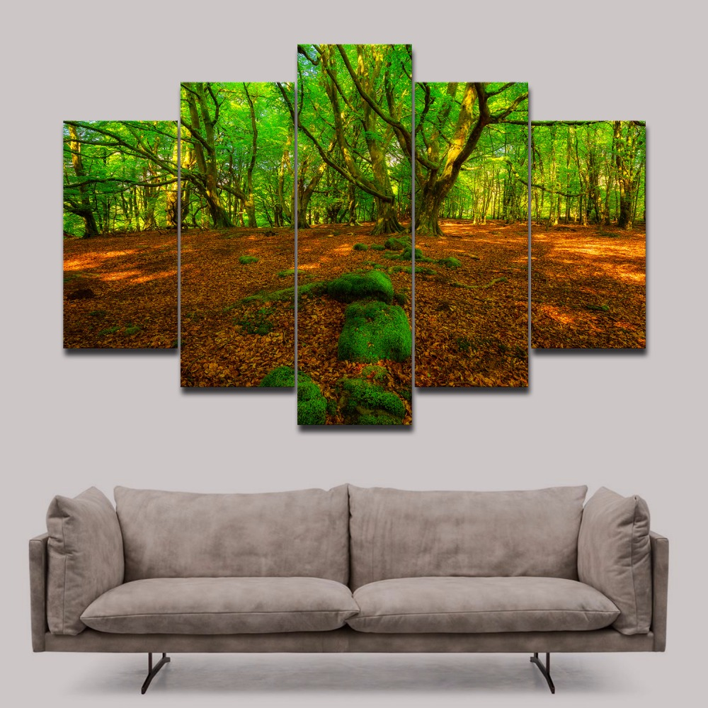Unframed Green Forest Photo Print On Canvas Modern Wall Art Landscape Nature Picture Painting